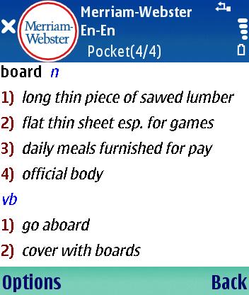 Английский толковый словарь Merriam-Webster Pocket для Symbian S60 3rd Edition