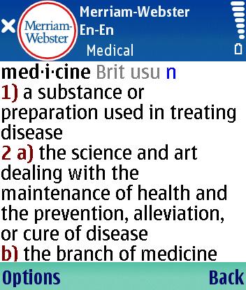 Английский толковый словарь медицинских терминов Merriam-Webster Medical для Symbian S60 3rd Edition